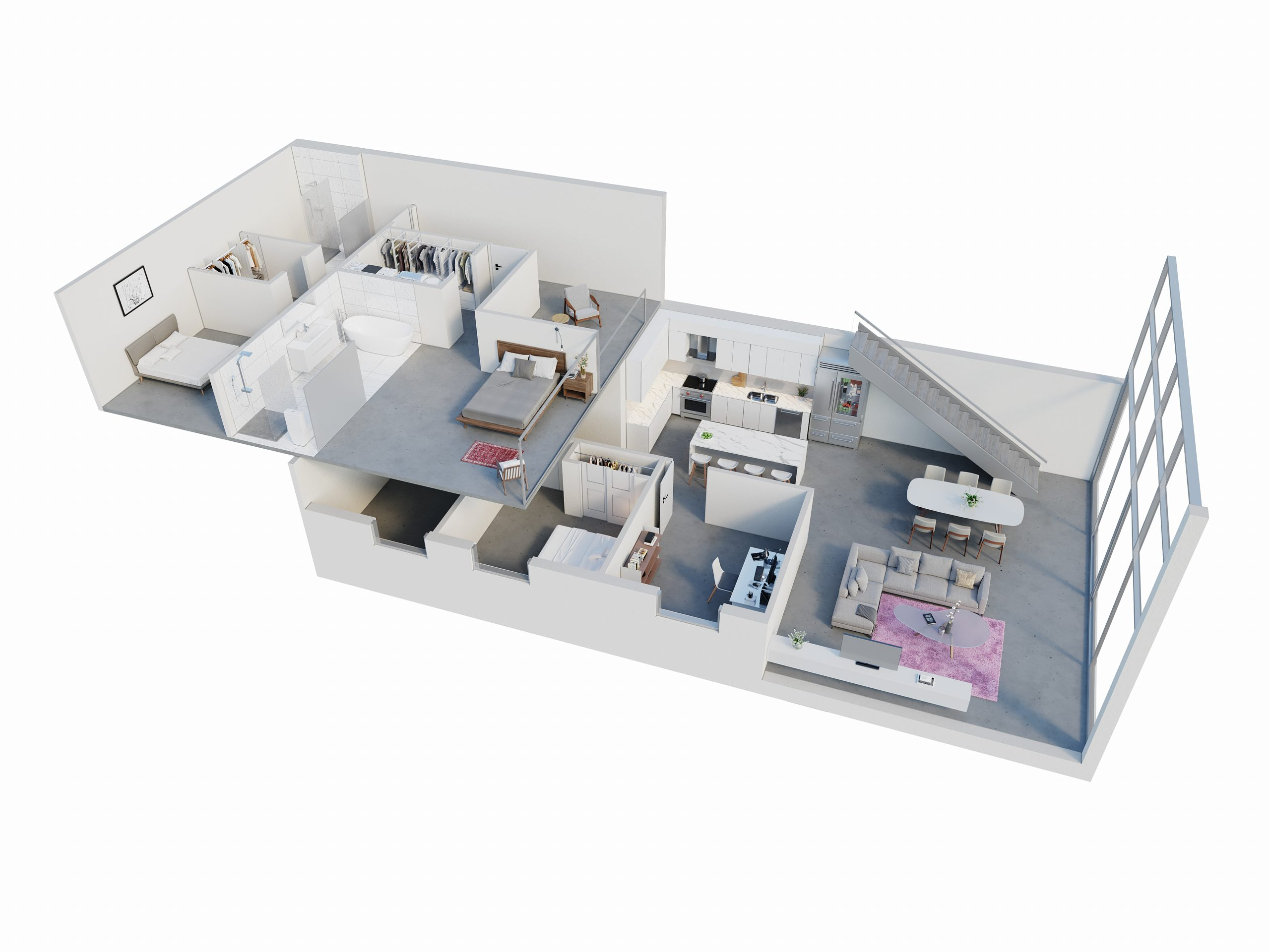 Open concept 3D renderings floor plans