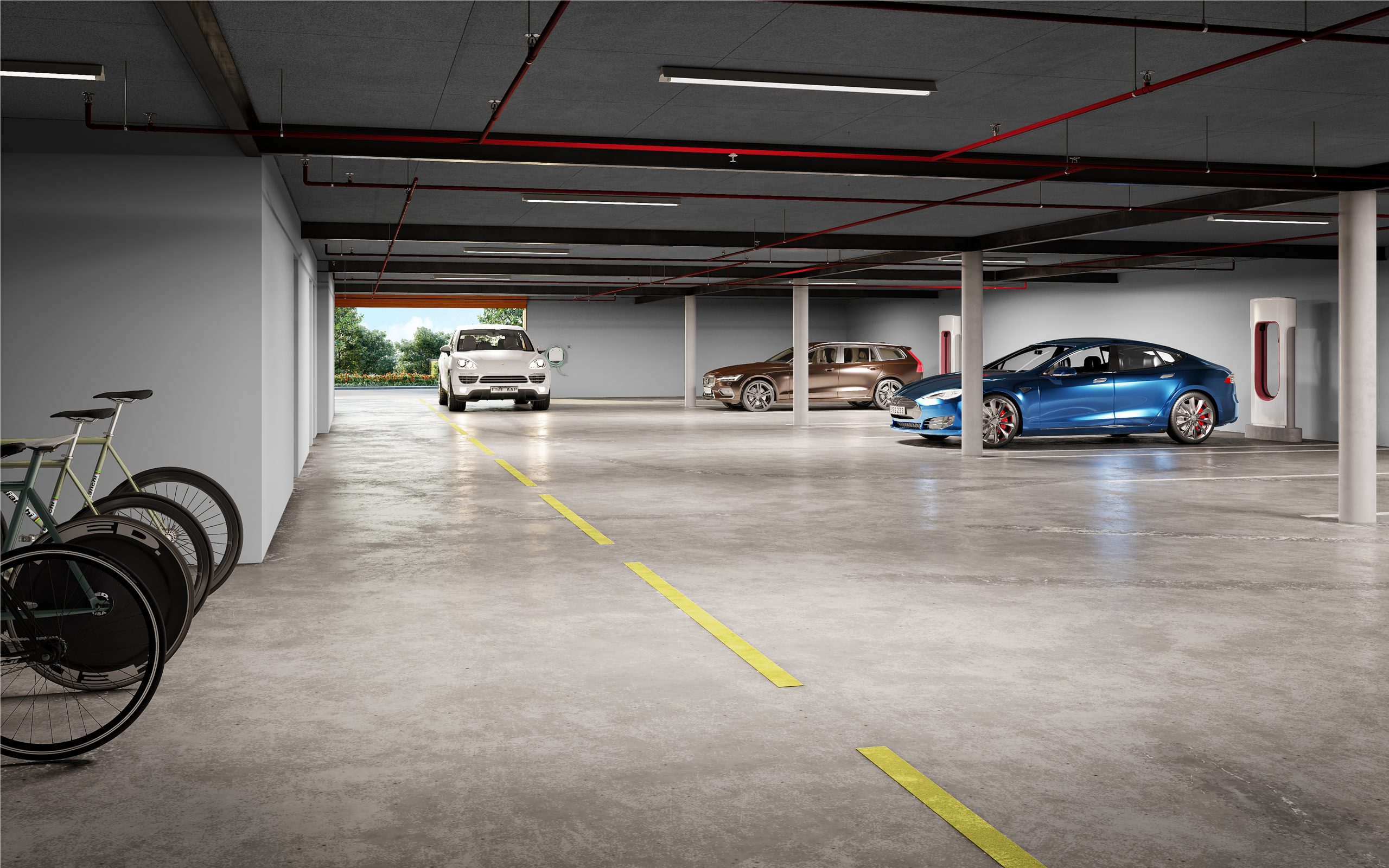 Garage underground electric vehicle charging
